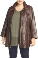 Ellen Tracy Plus Size Women's Leather Walking Coat