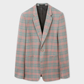 Paul Smith Men's Slim-Fit Grey And Pink Check Carlo Barbera Wool Blazer