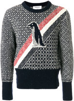 Thom Browne Crewneck Pullover With Penguin Icon Fair Isle Jacquard In Mohair Tweed