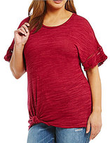 Democracy Plus Short Sleeve Knot Front Top