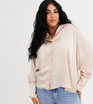 Asos DESIGN Curve long sleeve blouse with frill collar detail-No Colour