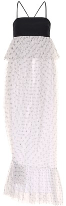 STAUD Petunia dotted tulle midi dress