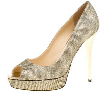 Jimmy Choo Metallic Gold Lame Glitter Fabric Dahlia Platform Peep Toe Pumps Size 38