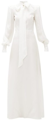 The Vampire's Wife The Mayhem Pussy-bow Silk-twill Gown - Ivory
