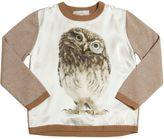 Owl Printed Silk Satin & Wool Sweater