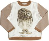 Venera Arapu Owl Printed Silk Satin & Wool Sweater