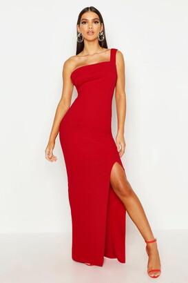 boohoo One Shoulder Thigh Split Maxi Dress