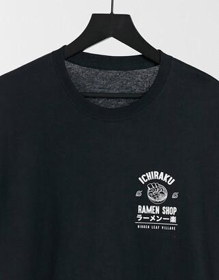 New Look oversized t-shirt with ichiraku ramen shop print in black