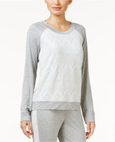 Alfani Lace Jacquard-Front Pajama Top, Created for Macy's