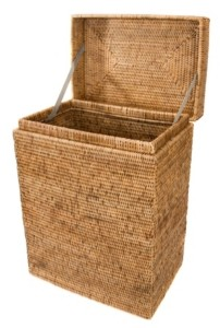 Artifacts Trading Company Rattan Rectangular Hamper with Hinged Lid