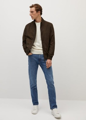 MANGO MAN - Faux-suede biker jacket navy - S - Men