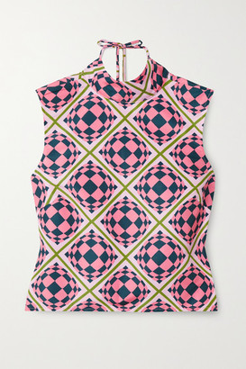 MAISIE WILEN Tied Up Open-back Printed Shell Top - Pink