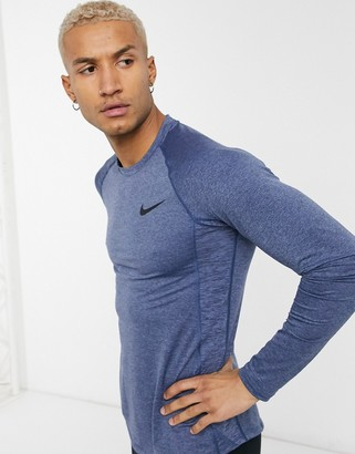 Nike Training Pro long sleeve top in blue