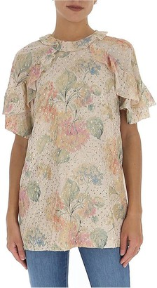 RED Valentino Floral Ruffle Trimmed Blouse