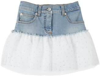 Ermanno Scervino Stretch Denim Skirt W/ Tulle Insert