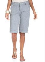 Style&Co. Shorts, Tummy-Control Railroad-Stripe Bermuda