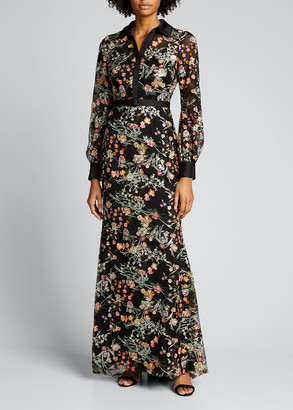 Badgley Mischka Floral Embroidered Tulle Long-Sleeve Column Gown