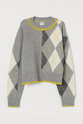 H&M Jacquard-knit Sweater - Gray