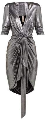 Maria Lucia Hohan Adelyn Metallic Jersey Wrap Dress - Womens - Silver