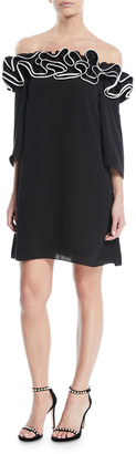 Halston Flowy Mini Dress w/ Ruffle Trim