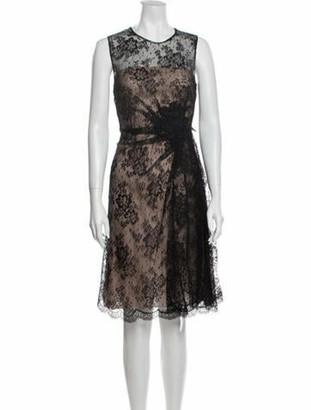 Valentino Lace Pattern Knee-Length Dress Black
