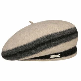 Seeberger Stripes Wool Felt Basque Beret Womens (One Size - Black-Beige)