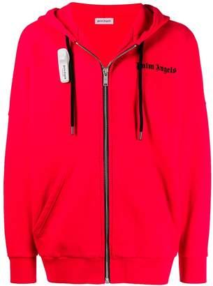 Palm Angels security tag zip-front hoodie
