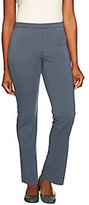 As Is Susan Graver Milano Knit Comfort Waist Front Zip Pants - Petite