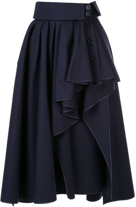 Dice Kayek Ruffled Asymmetric Skirt