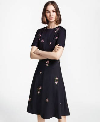 Brooks Brothers Petite Floral-Embroidered Stretch Wool Dress