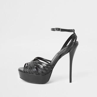 River Island Black leather platform skinny heel sandal