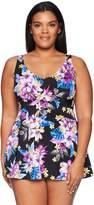 Maxine Of Hollywood Women's Plus Size Midnight Garden Print Swimdress One Piece