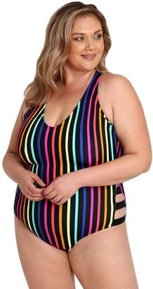 LYSA Plus-Sized Striped Racerback One-Piece -Jadie
