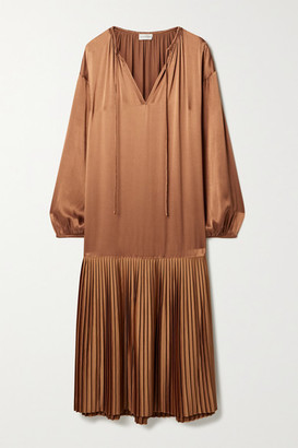 By Malene Birger Lemona Pleated Satin Midi Dress - Light brown