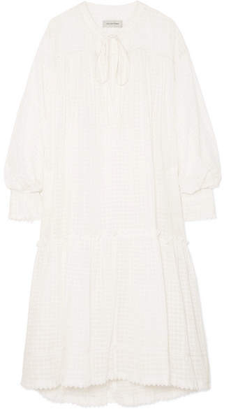 Lee Mathews - Laura Lace-trimmed Checked Cotton-muslin Dress - Ivory