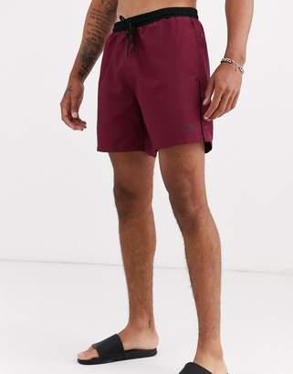 BOSS Starfish logo swim shorts in burgundy-Red
