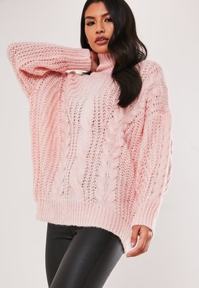 Missguided Petite Pink High Neck Cable Knit Jumper