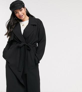 ASOS DESIGN Curve waterfall duster coat in black