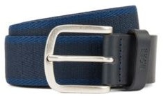 HUGO BOSS Reversible Belt In Fabric And Leather - Khaki
