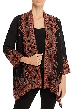 Johnny Was Eyal Linen Embroidered Open Cardigan