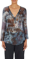 Raquel Allegra Women's Chiffon Split-Neck Blouse-BLUE