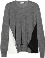 Chiffon-paneled alpaca and silk-blend sweater