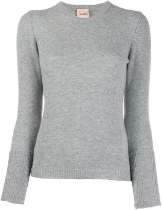 Nude layered sleeve contrast knit sweater