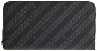 Givenchy Black and Grey Diagonal Logo Bifold Continental Wallet