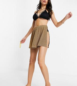 South Beach metallic beach skirt in rose gold