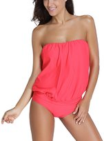 Ninimour Womens Wire Free Blouson Tankini 2 Pieces Swimsuit L