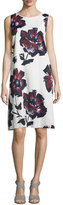 Lafayette 148 New York Palmer Sleeveless Brava Blooms-Print Dress, Cloud/Multi