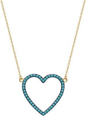 GABIRIELLE JEWELRY 22K Gold Vermeil Cubic Zirconia Heart Pendant Necklace