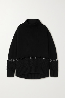 Sacai Embellished Wool Turtleneck Sweater - Black