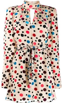 Saloni Tania polka-dot flocked dress